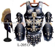 Medieval Leather Armor Cuirass Set With Corinthian Helmet Plumed