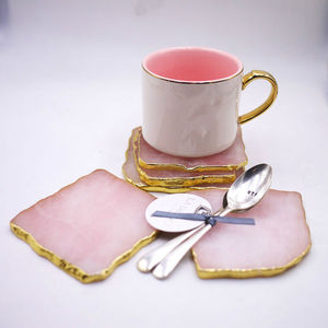 Wholesale cheap Natural crystal rose quartz pink beer drink coasters for home furnishing