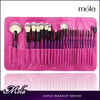 24pcs pink bag purple handle flat powder brush best make up brush sets