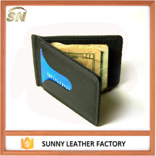 Manufacturer Soft Cowhide Leather Men's Slim Money Clip Wallet