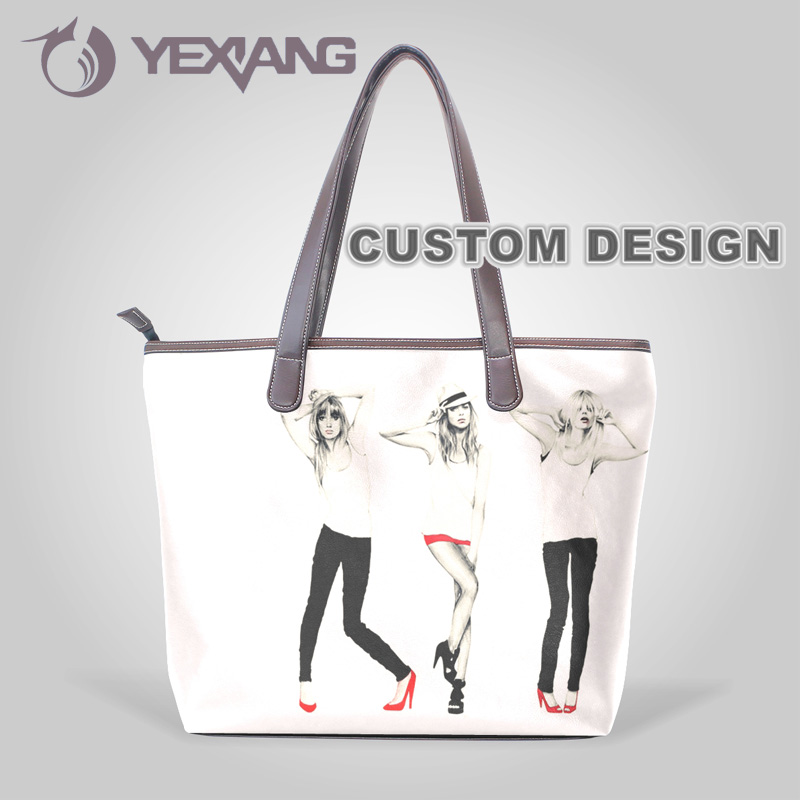 Print Fashionable Girl Soft Foldable Shoulder Handbag Tote Bag PU Leather