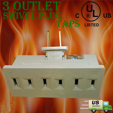 3 Outlet Grounded AC Power 2 Prong Swivel Light Wall Tap Adapte