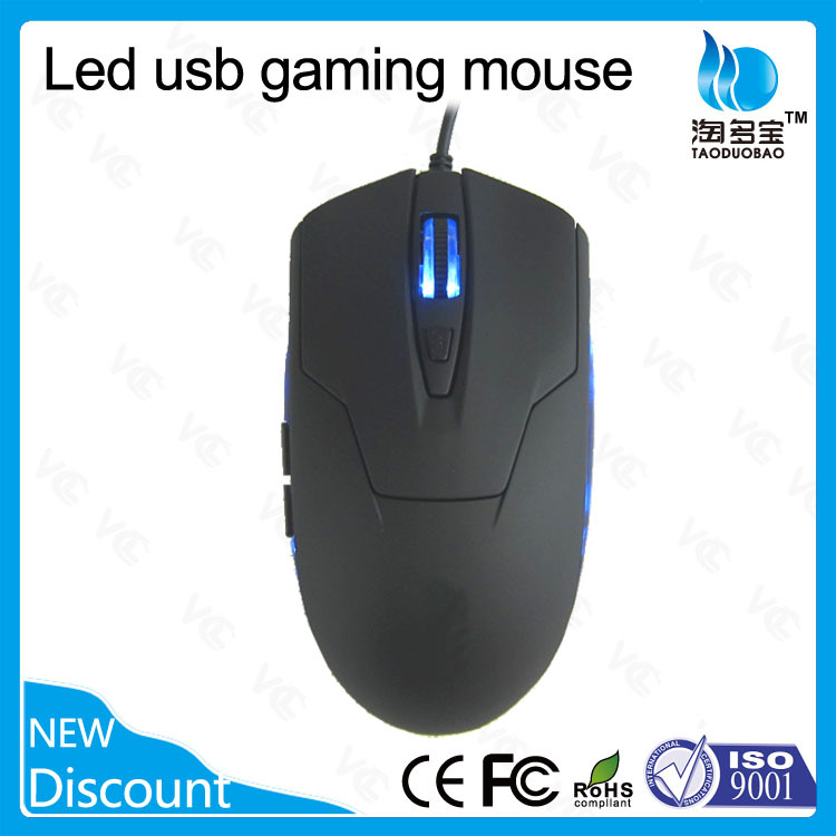 1200 2400 DPI computer optical USB 6D gaming mouse with LED light