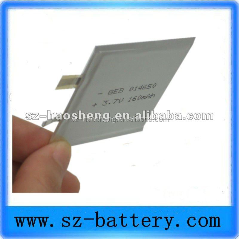 160 mah paper thin rechargeable smaller battery 3.7v 014650 micro battery