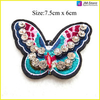 High Quality Embroidery with Crystal Butterfly Sequin Bead Patch for Garment