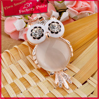 brighton sweater necklace jewelry 2016 design wholesale cute white stone owl pendant charm necklace for young girls