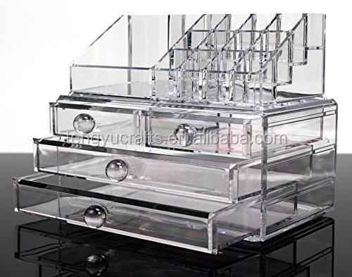 clear counter multi compartment cosmetic <strong>display</strong> four drawer 3 tier acrylic makeup tray for beauty product <strong>display</strong>