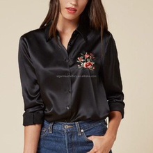 Spring Floral Embroidery Shirt Women Silk Blouse Tops Ladies Oversize Loose Shirt Girls Top STb-0628