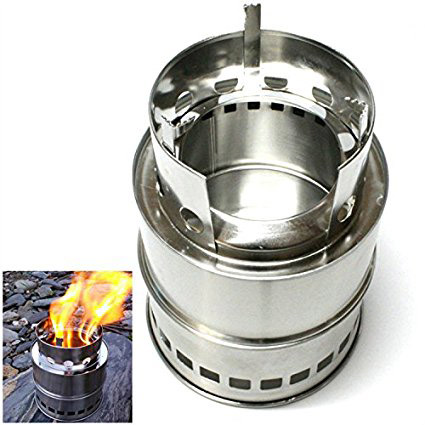Portable Detachable Stainless Steel Cooking Wood Burning Stove for Outdoor BBQ
