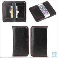 two mobile phones leather case for iphone 6, real Genuine Leather case for iphone