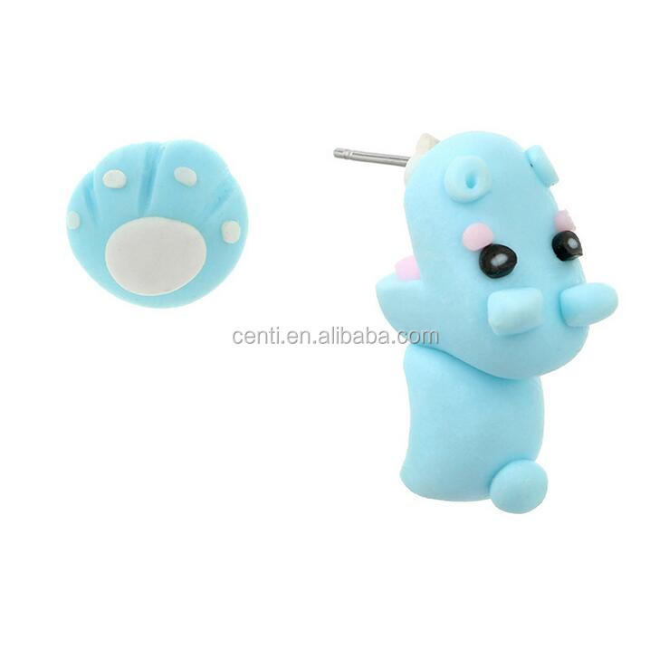 3D lovely cartoon hippo earring asymmetrical polymer clay animal earring
