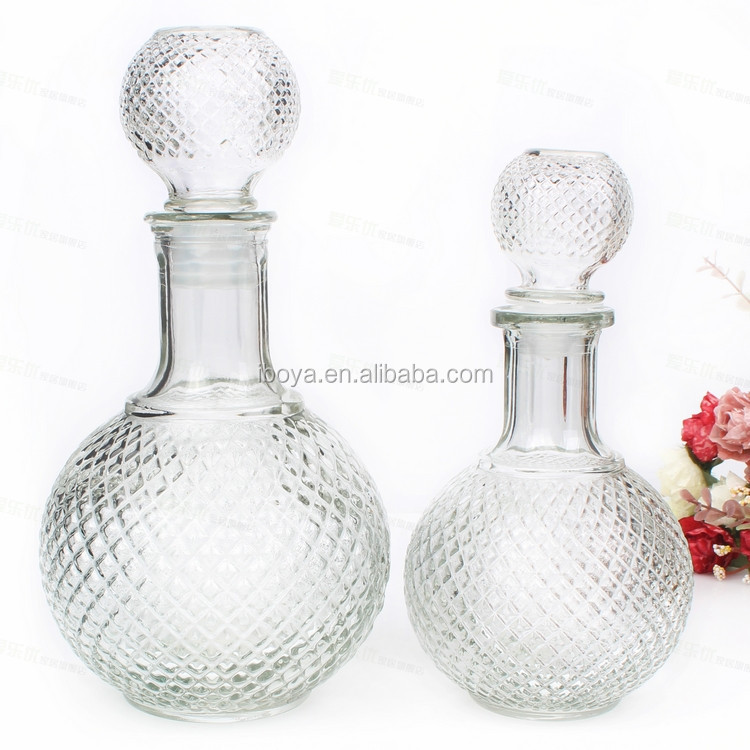 Unique Shape Glass Wine Bottles With Glass Ball Lid For