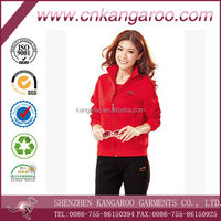100%polyester zipper front red jacket black pants tracksuits