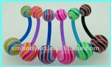 2012 Sexy acrylic belly bars have ripple design UV glow balls navel ring body piercing jewelry AMDQ12060401