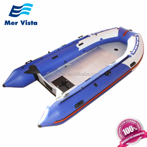 China PVC 14ft Inflatable Float Boat Hard Bottom Aluminium Boat For Fishing