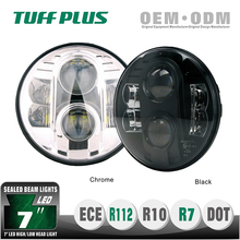 aftermarket 7 inch round led hi / low beam headlight for JEEP, HUMMER, OFF ROAD VENHICLES black 9V 12V 24V 36V Black color