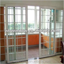 French double glazed plastic/vinyl interior sliding glass doors with lattices