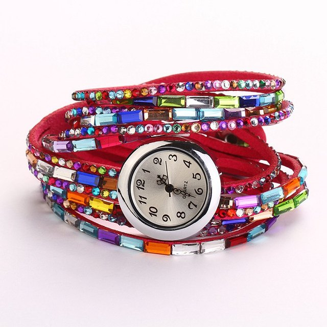 Women Watches 2016 Fashion Colorful Bracelet Watch Women Diamond Wristwatches Relogio Quartz Casual Female Bracelets Watches
