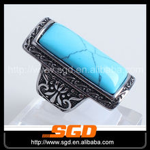 fashion stainless steel black enamel turquoise men's ring