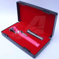 Baby Pink Mini Otoscope Fiber Optic with Bright LED Light in Hard Case