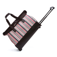 Hot Sale Unique Design Travel Luggage Tote Bag Business Stripes Trolley Bag with PU wheels