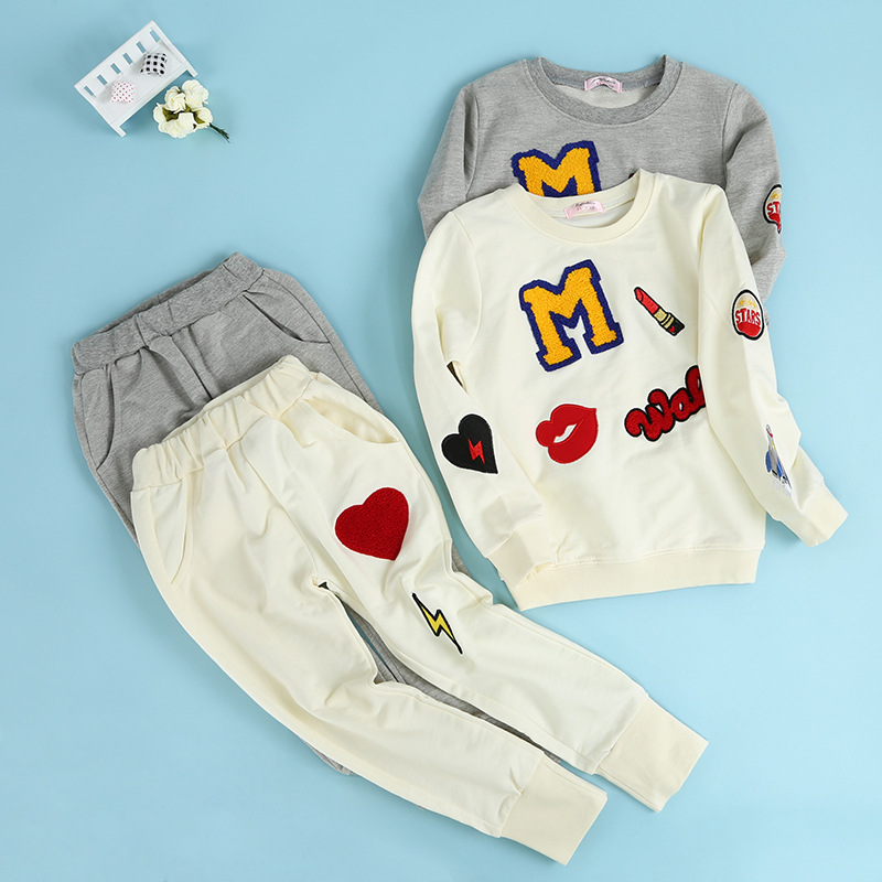 S90238A fall and spring children clothing baby alphabet pattern sets boutique clothes sets