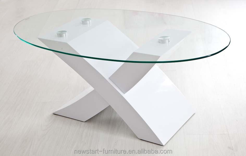 moderno lacado blanco base de madera oval de cristal mesa de caf