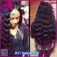 "High quality Malaysian human hair lace wig with 4*4"" silk base on top deep wave full lace wig glueless wig cap 8-30"" in stock"
