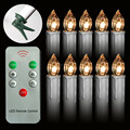 Battery Powered Remote Control LED Christmas Tree Taper Candles with Clip
