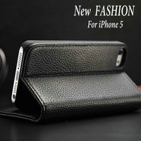 Fashion New Product Basic Stand Wallet Leather Mobile Phone Case for Iphone 5