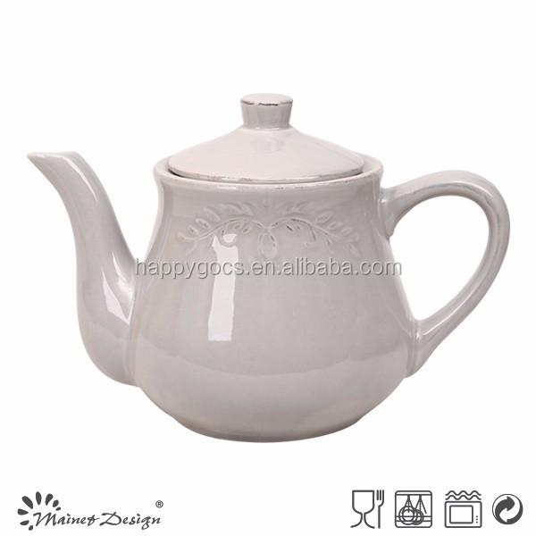 2015 latest design teapot set relief, stone porcelain teapot, high quality promotional teapot