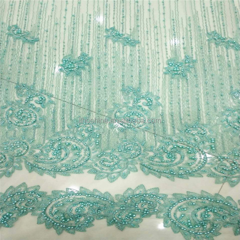 China manufacturer latest fashion customized embroidered tulle all handmade beaded lace fabric for evening clothes