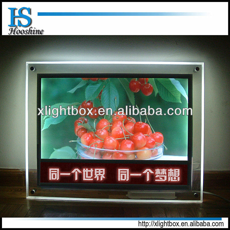 Newest light up picture frame,wall mounted acrylic signs,crystal led light box for advertising