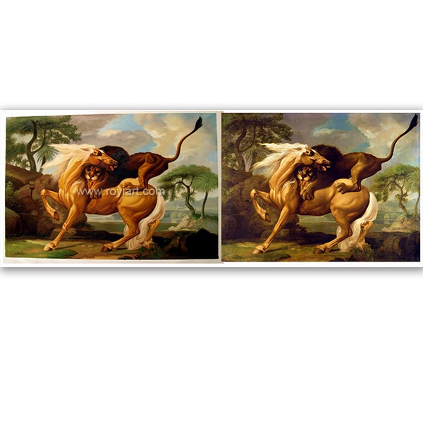 High quality wall decor handmade animal canvas oil painting of Lion and Horse