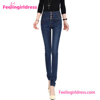 High Waist Packet Hip Slim Pencil Trousers Latest Jeans Tops Girls