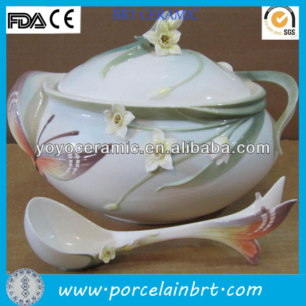 white round flower daffodils ceramic chinese soup tureen