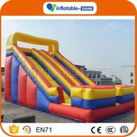 New arrival double lane inflatable slides top level lake inflatable water slides