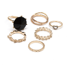 CS00162 JN wholesale fashion gold ring hollow diamond heart black stone joint rings set for womens