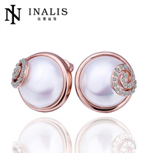 Dubai style rose gold earrings 2014 made with glass LKN18KRGPE383