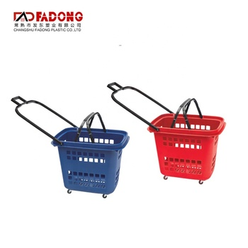 Plastic Roll Shopping Basket With 4 wheels