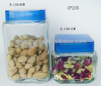 square glass food ginger storage jar with blue lid CF205
