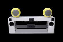 Simple and elegant white piano lacquer TV stand with amplifier