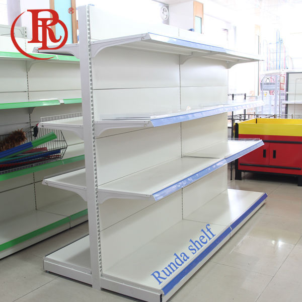 shop decoration wall shelves with led pipe base stand