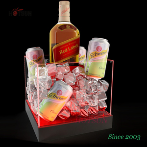 Free Design Logo LED Acrylic Ice Bucket with Changeable Battery