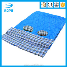 190T polyester two-way zipper double flannel sleeping bag with two pillows