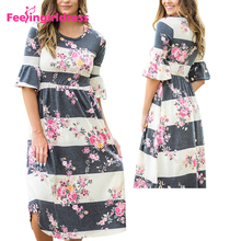 New Design Short Sleeve Causal Women Summer Midi Floral Print Dress