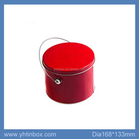 cylinder small packaging gift tin bucket with lid