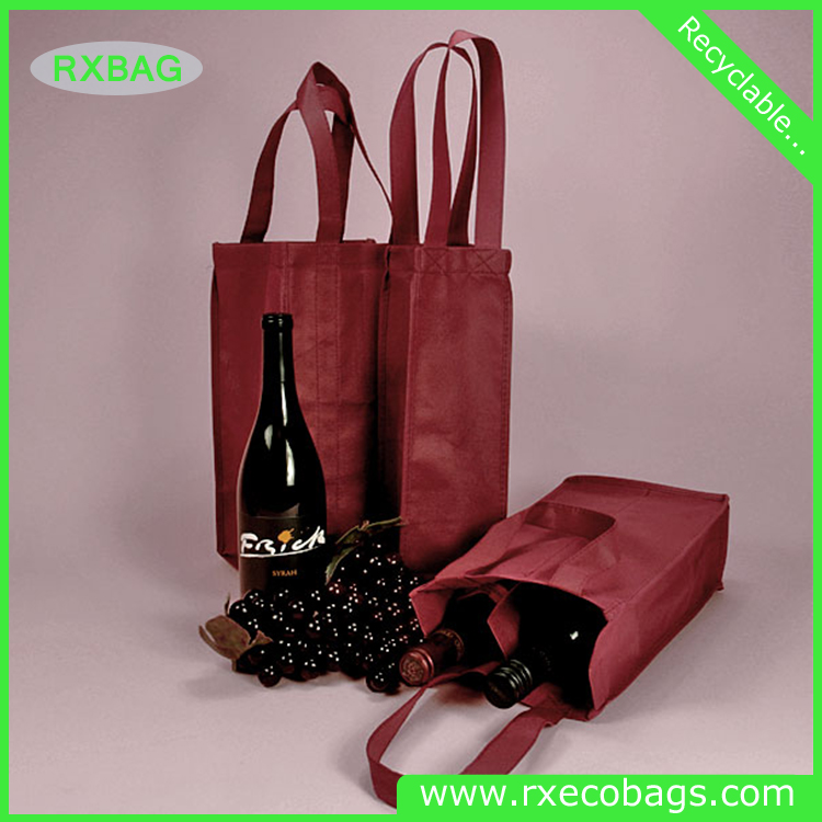 China factory wholesale customized non woven wine drink carry bags for christmas carry use