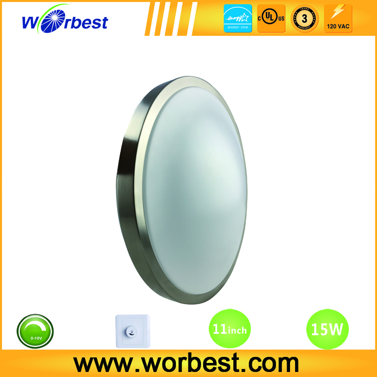 Worbest China supplier IP44 Surface Mounted led ceiling Premium Dome Light, 3000k brush nickel White Trim for shower
