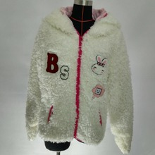 faux fur women hooded coat with patches